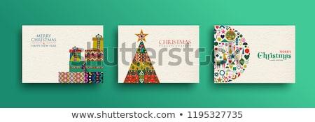 Conjunto vetor natal caixas flocos de neve neve Foto stock © alexmakarova