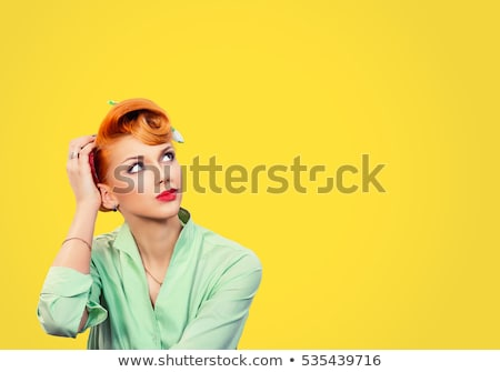 Retro woman working, isolated Stock photo © kariiika