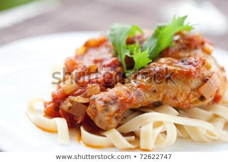 鶏 パスタ サイド 緑 チーズ トマト ストックフォト © rojoimages
