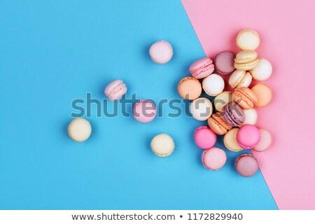 Macaron torony zárt étel szeretet rózsa Stock fotó © esatphotography