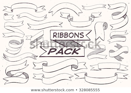 Hand drawn ribbon banners set Stock photo © netkov1