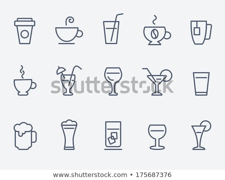 mug of hot drink line icon stock photo © rastudio