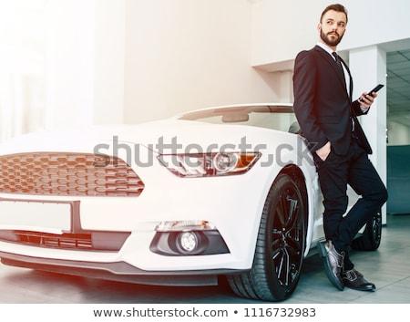 молодым человеком роскошь Спортивный автомобиль стороны дороги лес Сток-фото © zurijeta