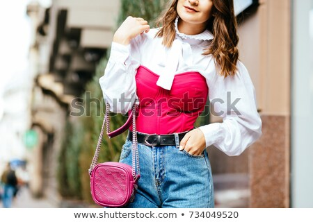 Сток-фото: романтические · девушки · белая · блузка · изолированный · черный