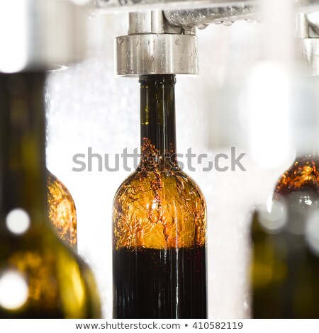 wine bottle filling along conveyor belt in bottling factory stock photo © freeprod