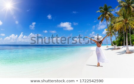Young lady walking on sea beach Stock photo © konradbak