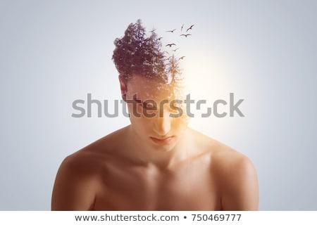 ハンサム · 若い男 · 立って · ブラウン · 深刻 - ストックフォト © zurijeta