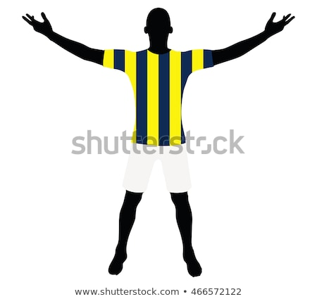 Stock photo: soccer player silhouette in yellow blue navy