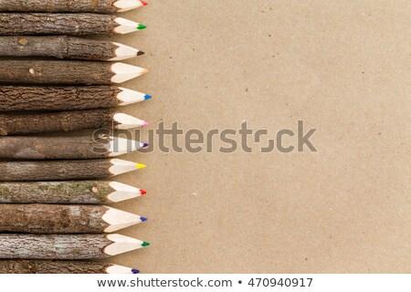 Rustik doğal ahşap kalem mum boya sınır Stok fotoğraf © ozgur