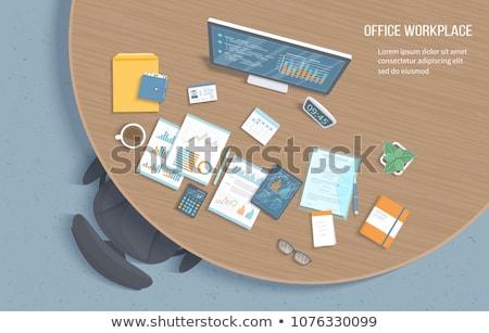 Controleren houten tafel woord kantoor school onderwijs Stockfoto © fuzzbones0