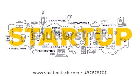 Puzzle szó startup kirakó darabok iroda építkezés Stock fotó © fuzzbones0