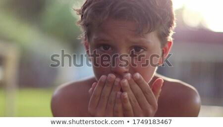 悲しい 顔 男の子 3  白 子供 ストックフォト © bluering