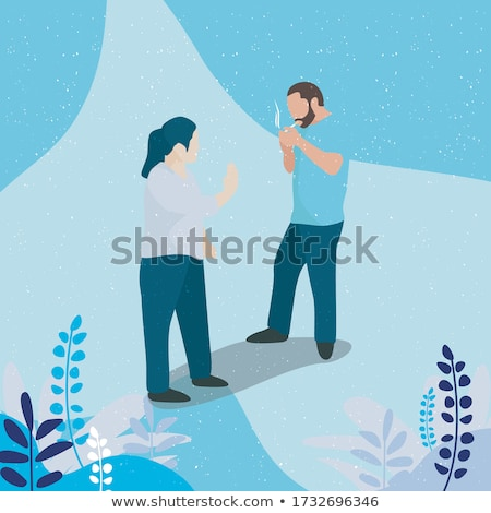 young man quitting smoking vector illustration stock photo © rastudio