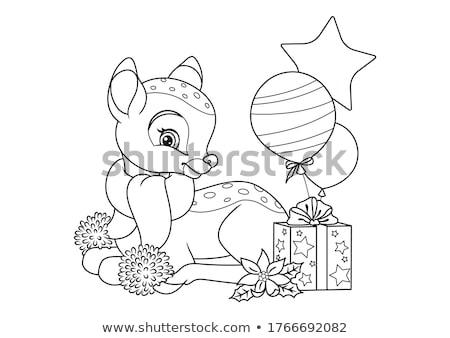 Noël illustration couleur cerfs silhouette faible Photo stock © -Baks-