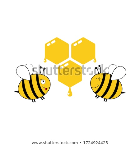 Foto stock: Cute Yellow Honey Bee With Group Of Flowers