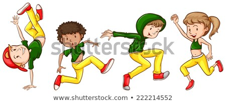 a sketch of the dancers with green and yellow outfits stock photo © bluering
