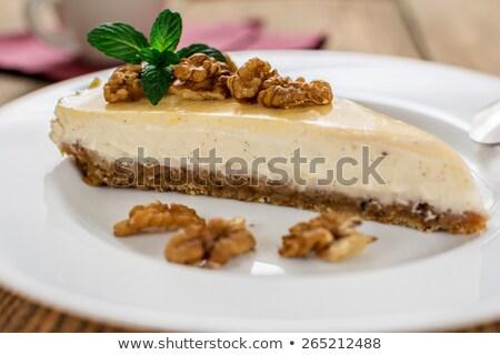 Walnoot kwarktaart kaneel heerlijk voedsel achtergrond Stockfoto © Peteer