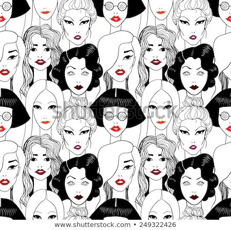 Vintage rode lippen patroon papier textuur ontwerp Stockfoto © Panaceadoll