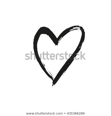 Stock fotó: Szív · rajzolt · festék · festett · fekete · piros