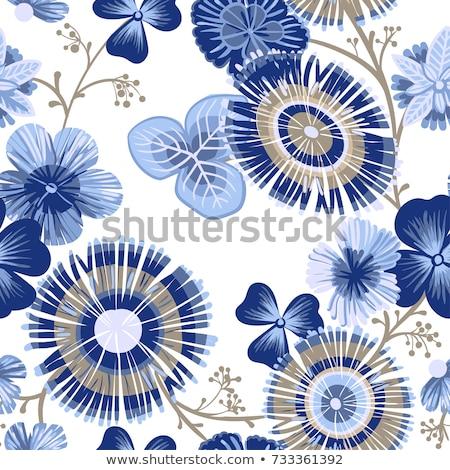 virágmintás · klasszikus · végtelen · minta · kék · virág · absztrakt - stock fotó © jeksongraphics