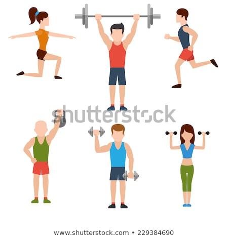 Weightlifting flat vector icons set Stock photo © vectorikart