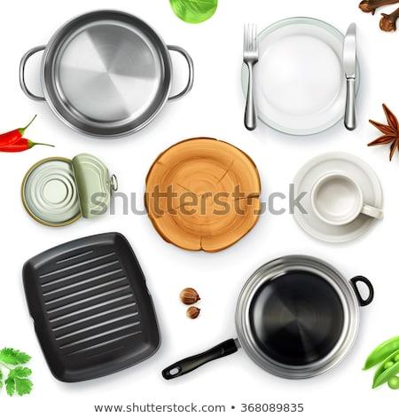 empty cooking pot top view 3d stock photo © djmilic