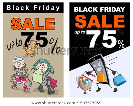 black friday sale up 75 percent discount funny vector cartoon stock photo © orensila