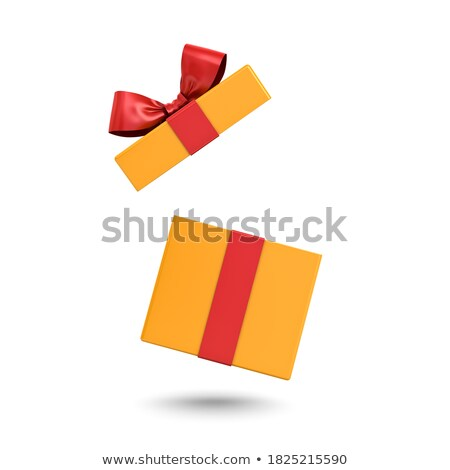 white and red and yellow product cardboard package box 3d illustration isolated on white background stock photo © tussik