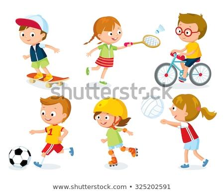 Cute ragazzo cartoon giocare pattini uomo Foto d'archivio © jawa123
