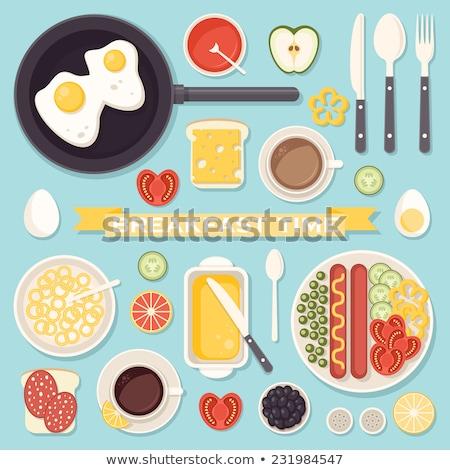 Chá limão prato café da manhã comida ovos Foto stock © Yatsenko