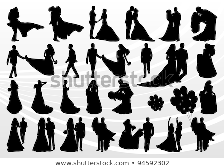 bride and groom bouquet wedding silhouette stock photo © krisdog