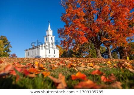 традиционный · американский · белый · Церкви · осень · небе - Сток-фото © backyardproductions