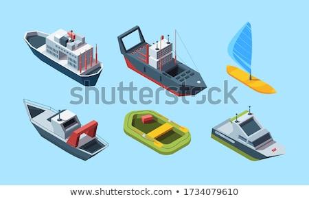 Felfújható csónak ikon rajz stílus fehér Stock fotó © ylivdesign