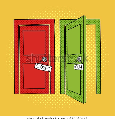 vector hand drawn pop art illustration of doors open and closed stock photo © curiosity