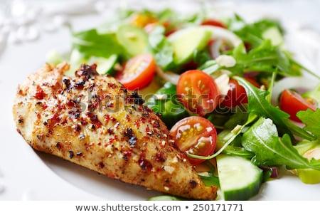 Fraîches salade poulet filet légumes bois Photo stock © M-studio