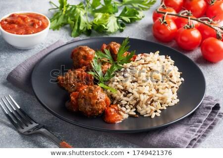 Albóndigas listo cocinar crudo salchicha carne Foto stock © klsbear