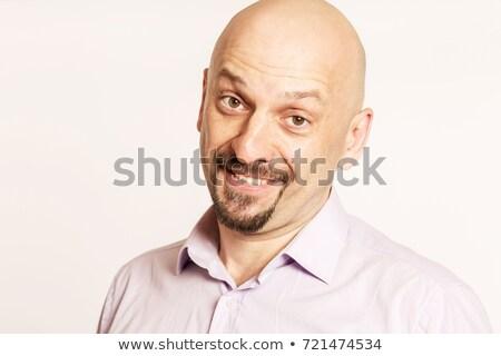Zdjęcia stock: Przystojny · łysy · uśmiechnięty · człowiek · portret