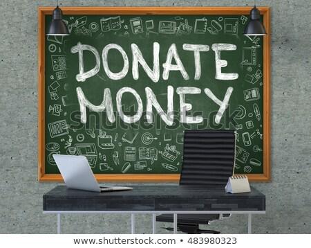 Donate Money on Chalkboard with Doodle Icons. 3D. Stock photo © tashatuvango