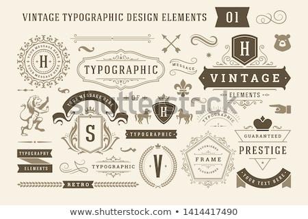 Vintage fleurir logo étiquette modèle hôtel Photo stock © reftel