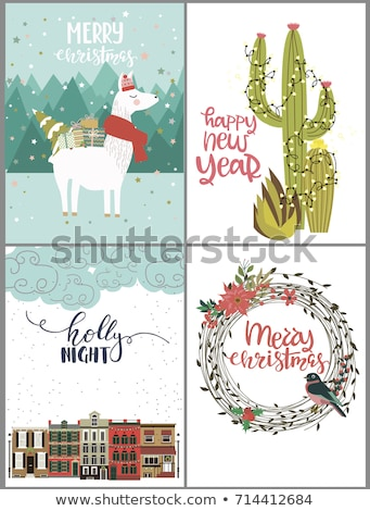 Stockfoto: Christmas Cactus Vector Set