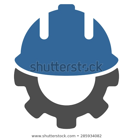 Engineering Icon. Gear and Hard Hat. Development Symbol. Stock photo © WaD