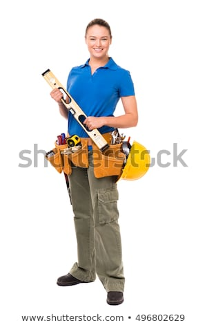 young pretty builder girl in white shirt builder belt helmet stock photo © traimak