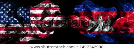 Futebol chamas bandeira Camboja preto ilustração 3d Foto stock © MikhailMishchenko