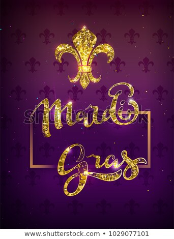 golden lily silhouette symbol festival mardi gras greeting card gold text decoration stock photo © orensila