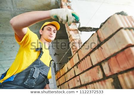 Bouwvakker bouwer metselaar tool cartoon vrouw Stockfoto © Krisdog