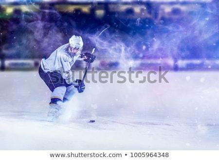 sportos · fiatalember · jégkorong · felszerlés · játékos · mosoly - stock fotó © pressmaster