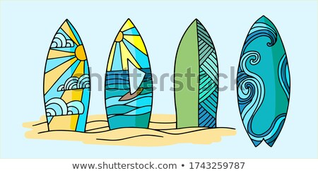 Színes szörfdeszka vektor rajz illusztráció izolált Stock fotó © RAStudio