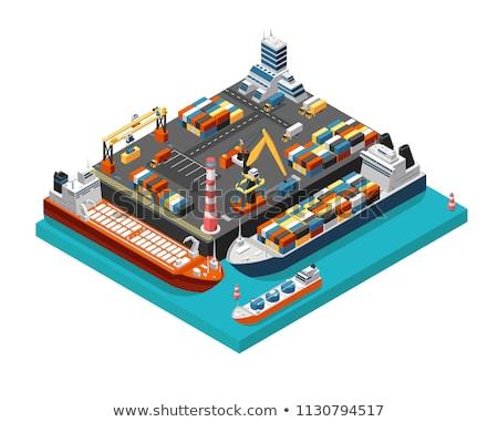 containerschip · wolken · ontwerp · achtergrond · oceaan · Blauw - stockfoto © studioworkstock