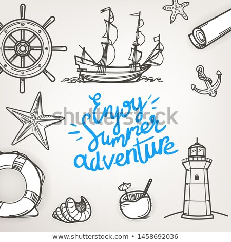Sea travel poster with group of sailboats Stock photo © studioworkstock