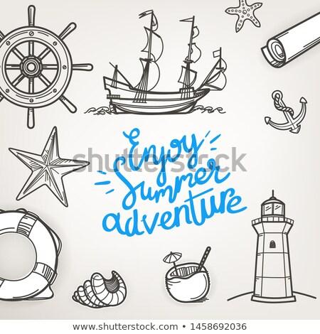 Zee reizen poster groep zeilboten Stockfoto © studioworkstock
